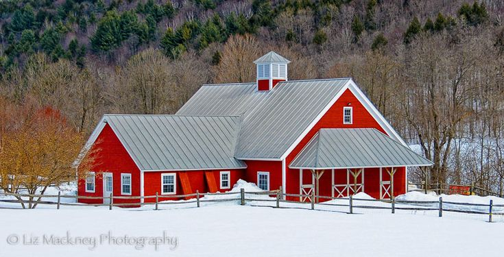New England's Red Barns in Winter