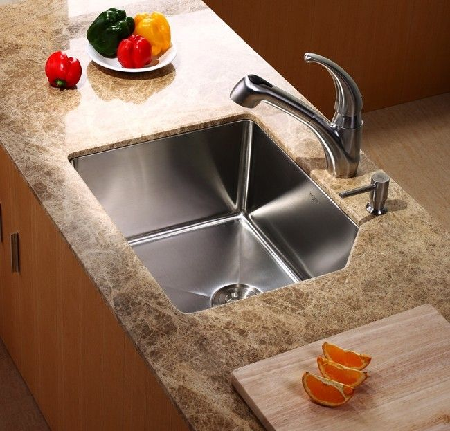 kraus 23 inch undermount single bowl stainless steel kitchen sink khu12123 - Kraus Sinks