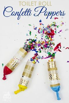 Toilet Roll Confetti Poppers. A fun kids craft that is perfect for celebrations or the new year