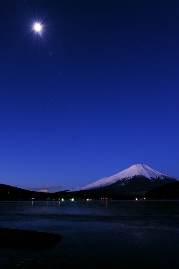 Moon and Mount Fuji, Japan