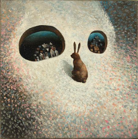 Visual artist Samuli Heimonen VILLAGES. Acrylic and oil on canvas. 2011
