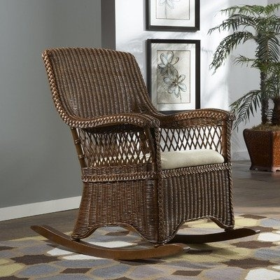 Amazon.com: Wicker Indoor Rocking Chair with Cushion: Patio, Lawn ...