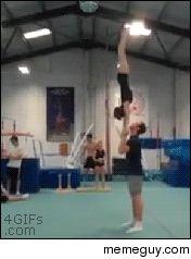 Amazing gymnastics trick WOAH