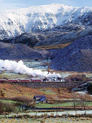 The Welsh Highland Railway, skirting Snowdonia en route between Caernarfon and Porthmadog.
