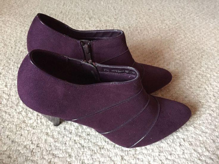 Marks & Spencer Ladies Ankle Boots / Shoes - UK 7.5 -  Purple Suede #MarksandSpencer #AnkleBoots