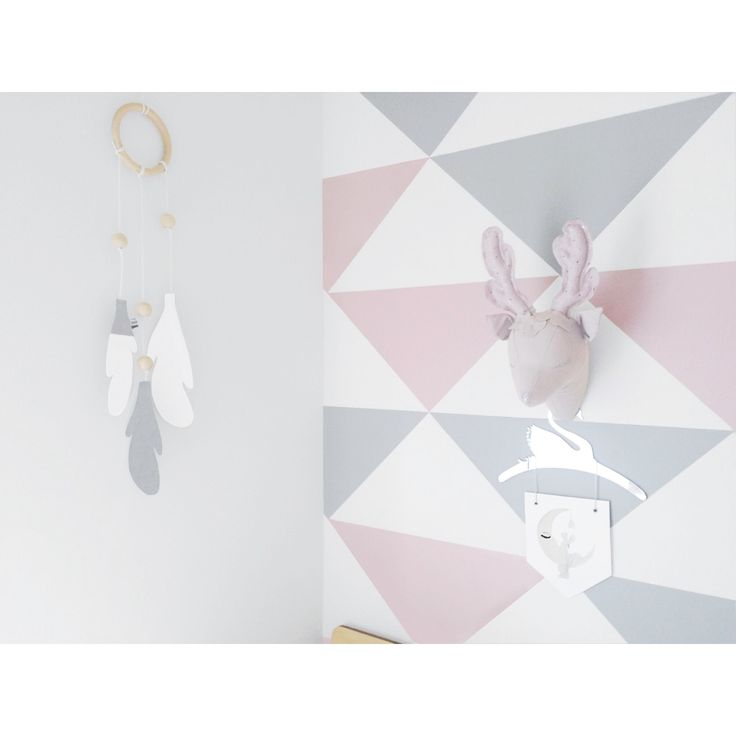 Grey and pink wall decals | room styled by @milka_interiors