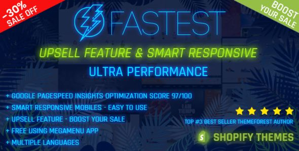 Fastest - Shopify minimal themes, Google Page Speed 97/100, Upsell feature - Boost your sale