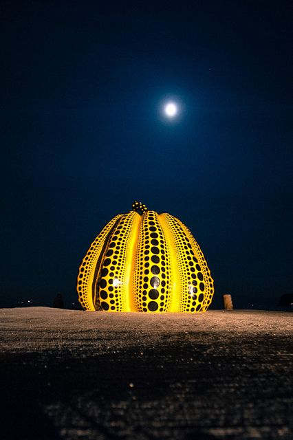 Yayoi Kusama's work - Naoshima, Takamatsu, Japan  I want so desperately to see this. I can't wait for the Triennale this month.