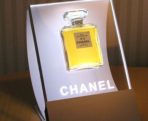 Chanel No. 5 Retail Merchandising Display. perfume bottle set in acrylic cut-out