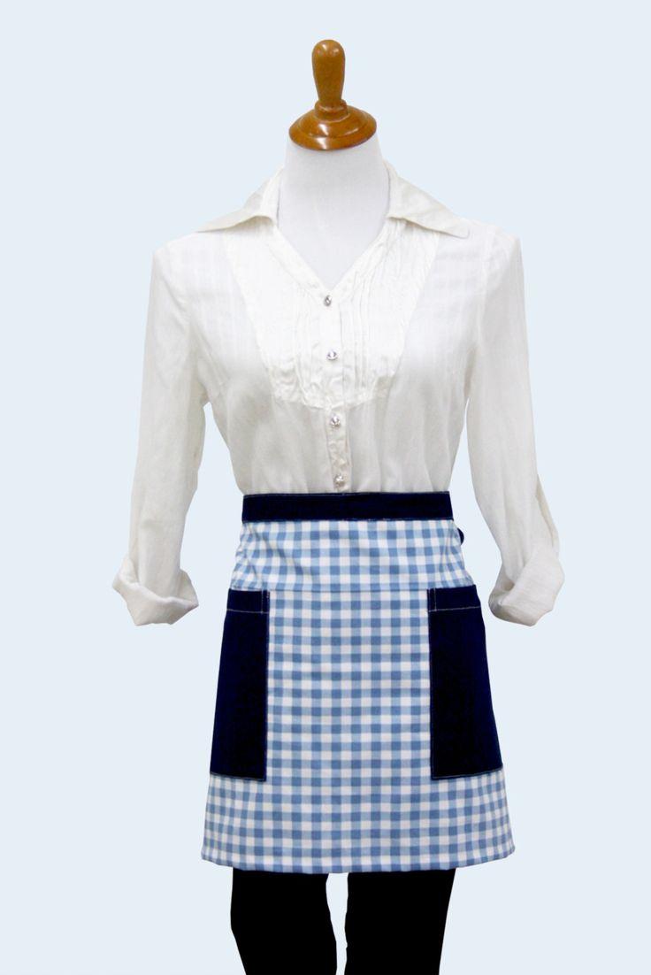 White apron canada - Blue Check Pattern Cotton Half Apron With Pockets Waist Apron Vendor Apron Waitress Apron Utility Apron Made In Canada