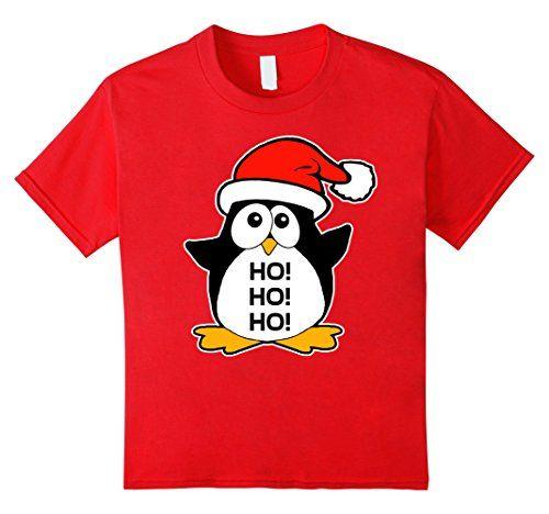 Kids Cute Christmas Penguin T-Shirt 4 Red Irony Designs…