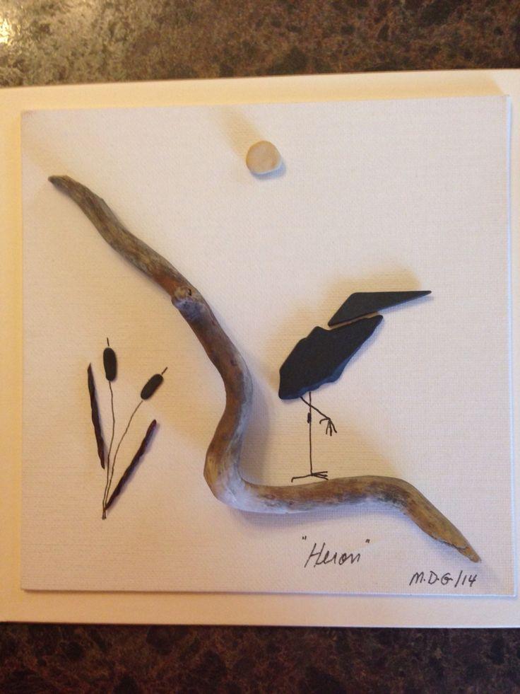 """Pebble Art by Denise """" Heron"""" . Unframed for photo"""