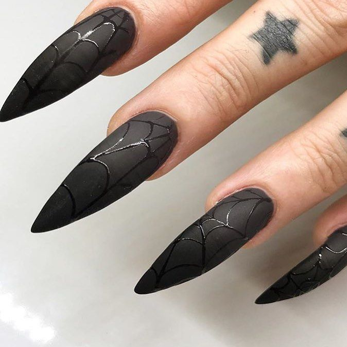 Black Web Long Stiletto Nails Halloween Long Stiletto Nails Goth Nails Halloween Nails