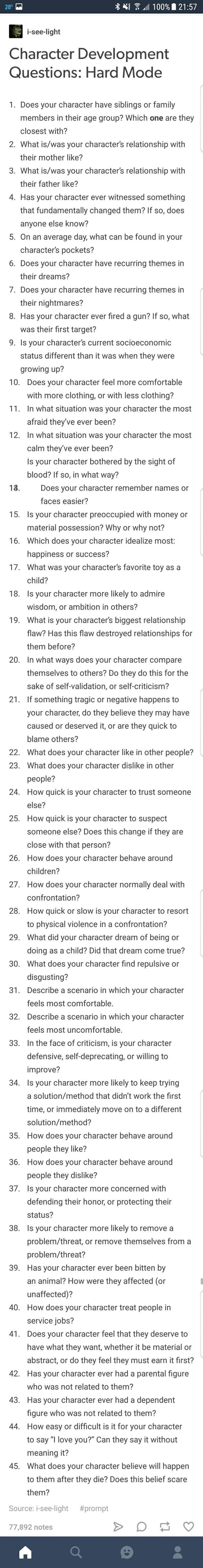 I've written literally one chapter of the book I'm starting, and I can answer almost all of these questions for my protagonist. This is actually quite validating; I guess I've fleshed out my character pretty well.