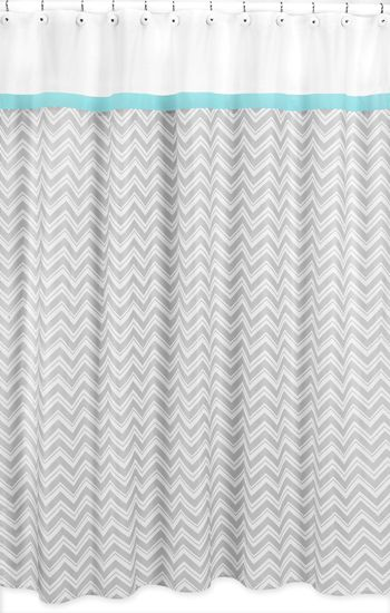 Buy Turquoise and Gray Chevron Zig Zag Shower Curtain by Sweet Jojo Designs and add a trendy modern touch to your bathroom. BabysOwnRoom.com: Free Shipping, Great Service!