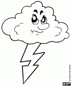 Storm, lightning and thunder coloring page