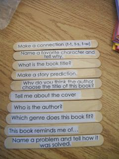 Guided Reading story sticks - students pulls a stick and answers the question from the read aloud