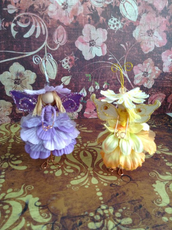 Purple and yellow fairy dolls by PixieNook on Etsy, $20.00