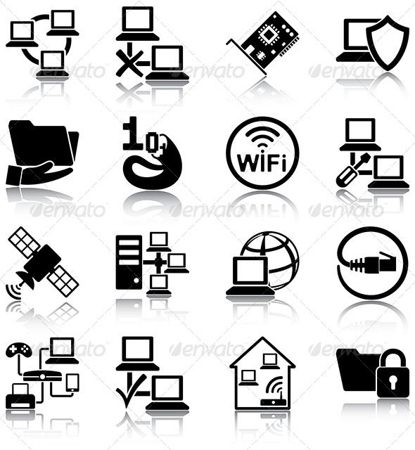 Computer Network Icons — JPG Image #satellite #pc • Available here → https://graphicriver.net/item/computer-network-icons/5860511?ref=pxcr