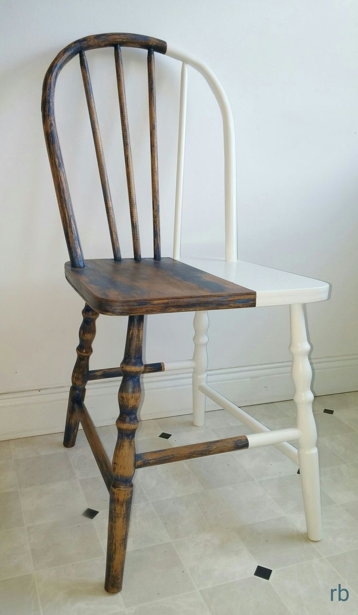 Blue/natural waxed and gloss white dipped hardwood farmhouse chair.