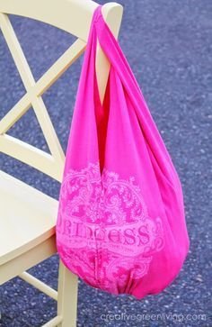 How to turn a t-shirt into a bag - new sewing required!  I cannot wait to try this myself.