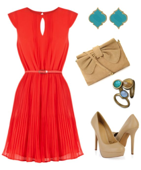 Love the coral pleated dress and turquoise blue accent combination