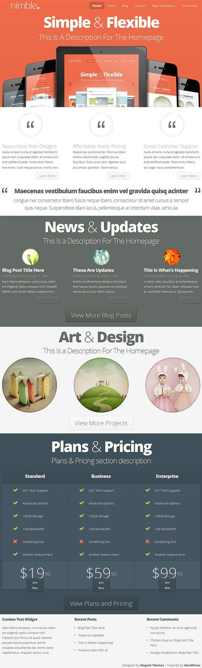 Designed by elegant themes powered by wordpress - Nimble Wordpress Theme A Minimalistic Stunning Portfolio Theme By Elegantthemes