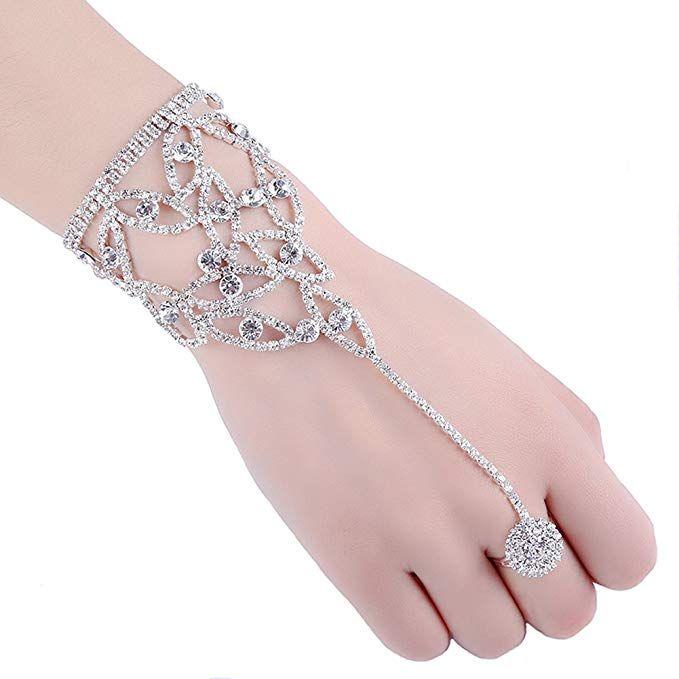 Women Lady Crystal Rhinestone Love Heart Anklet Ankle Bracelet Chain Jewelry MEC