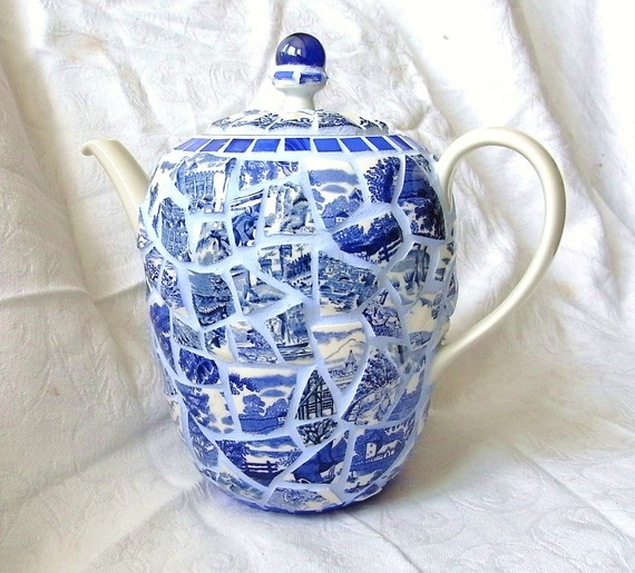 Gorgeous! Tea in the Willows Mosaic Picassiette Tea Pot in by waschbear on Etsy, $150.00