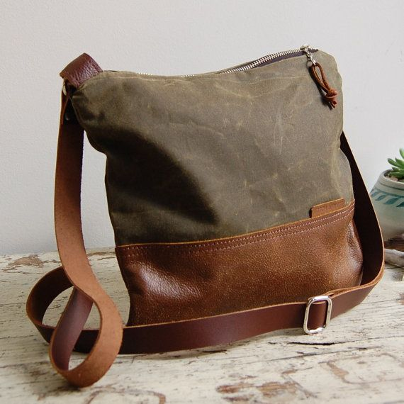 Waxed Canvas and Leather Crossbody Bag / Handmade Leather and Canvas Purse / Foldover Bag with Strap