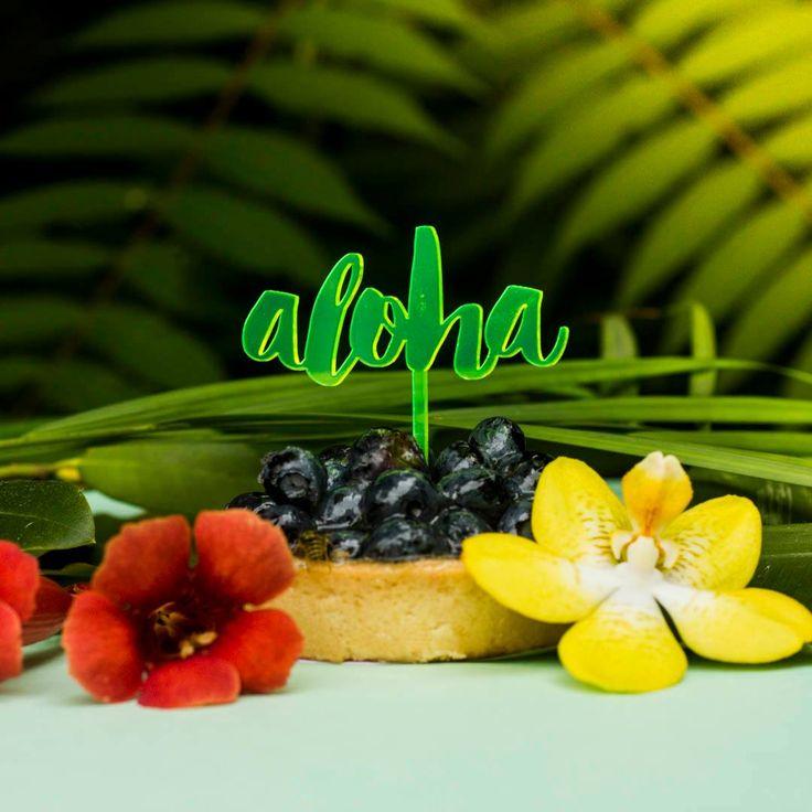 fluo cake topper, aloha, muffin