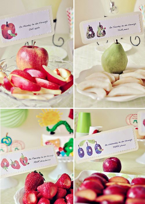 The Very Hungry Caterpillar party, I like the solid fruit to show what they are eating.
