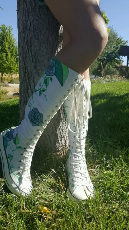 Sorry I haven't been lately updating my collection of knee high converse! So here this is my 45th pair of white knee high converse! The only one that was hand painted by me this pair was for my Halloween outfit as a all white ghost white white satin gloves and white tights! I was in bed posing as a possessed girl with my knee high converse, white satin gloves and white tights