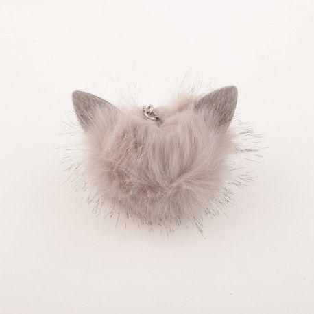Porte cles  pompon fourrure chat avec oreille 5,99e