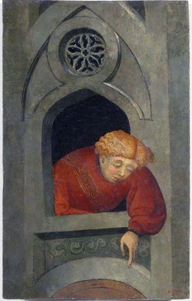 LLUÍS BORRASSÀ Joven asomado en la ventana, 1400-1415 © MNAC - Museu Nacional d'Art de Catalunya