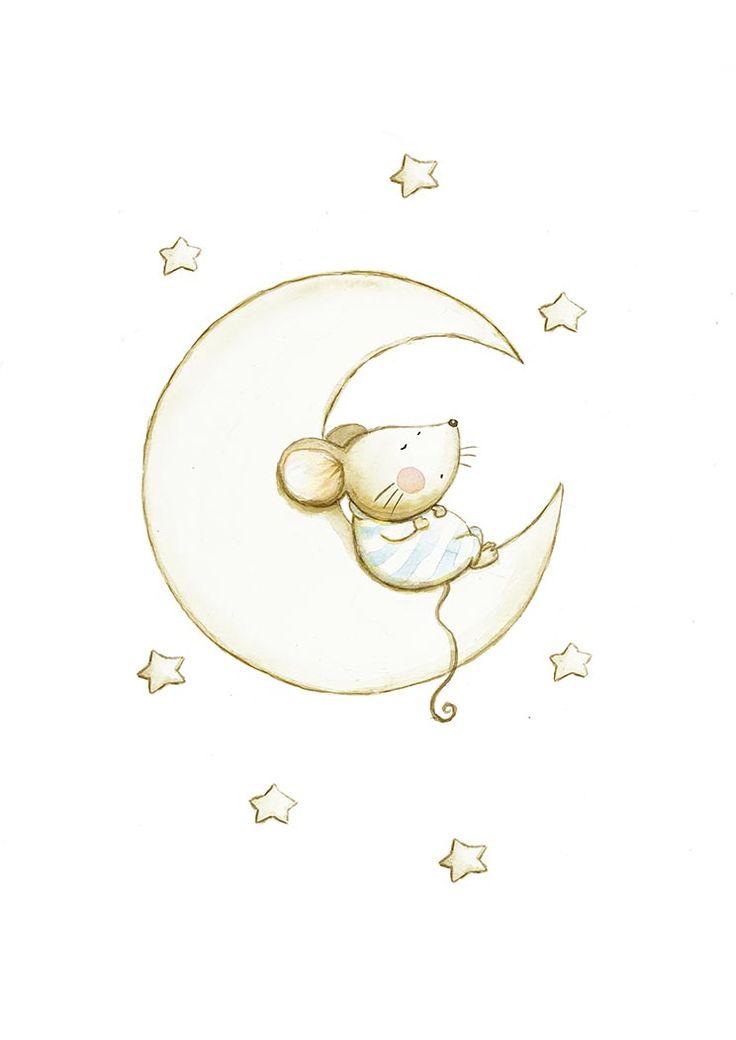 Ilustracion infantil luna durmiendo
