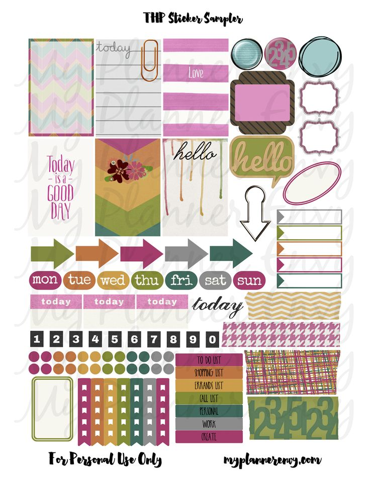 My Planner Envy  Various Colored Sticker Sampler   Free Planner Printable