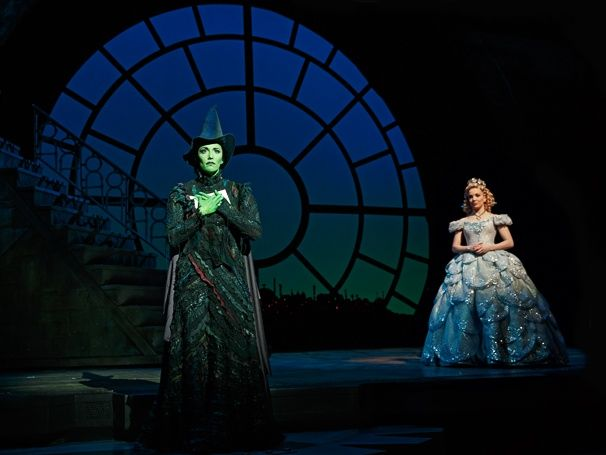 Photo 1 of 14 | Caroline Bowman as Elphaba and Kara Lindsay as Glinda in Wicked | Wicked: Show Photos | Broadway.com