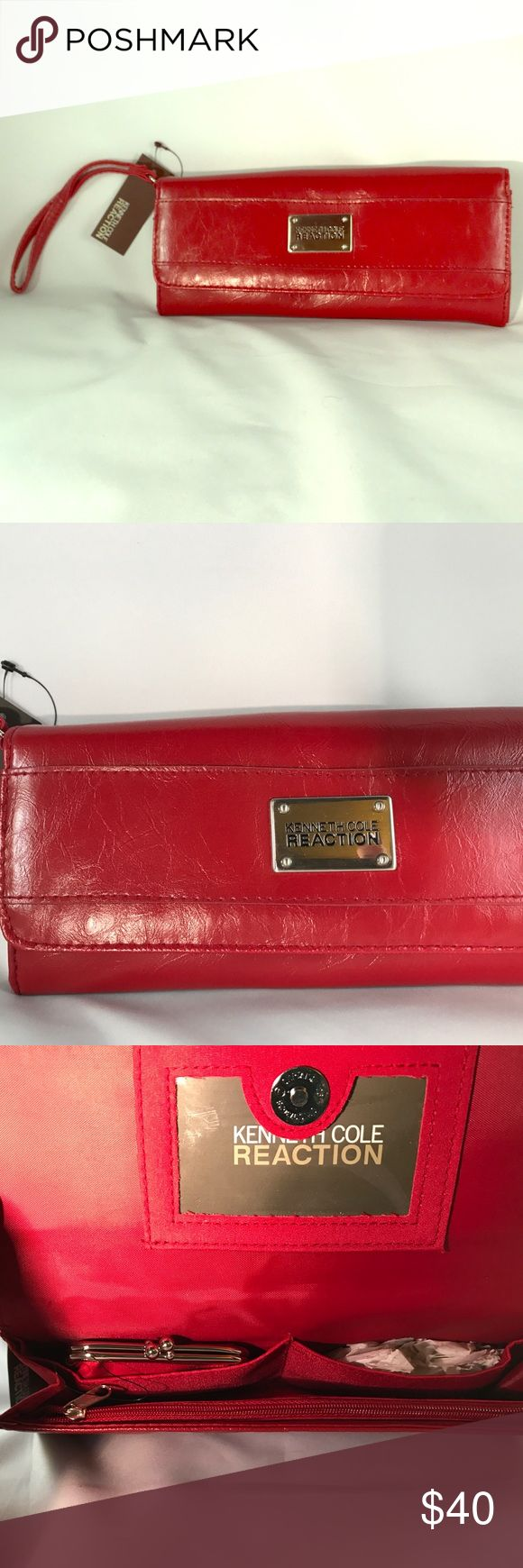 Kenneth Cole Reaction Red Clutch Purse NWT This beautiful clutch purse is perfect for those elegant evenings, proms, weddings, or a night out with the crowd. It's NWT. Original price $50.00. Has zipper compartment, small change purse. Kenneth Cole Reaction Bags Clutches & Wristlets