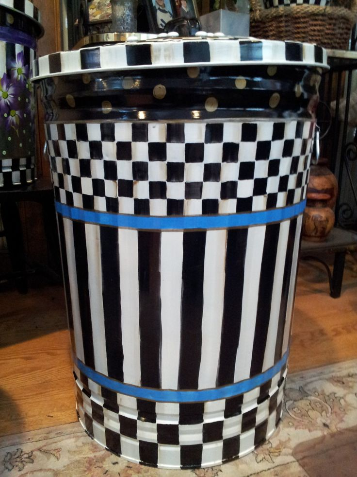 Mackenzie Childs Inspired 30 Gallon Monogram Can   Hand Painted Galvanized  Metal Trash Can W/