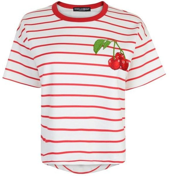 Dolce And Gabbana Cherry Patch Striped T Shirt ($270) ❤ liked on Polyvore featuring tops, t-shirts, bianco, crop tee, white crew t shirt, white t shirt, white tee and short sleeve crop top