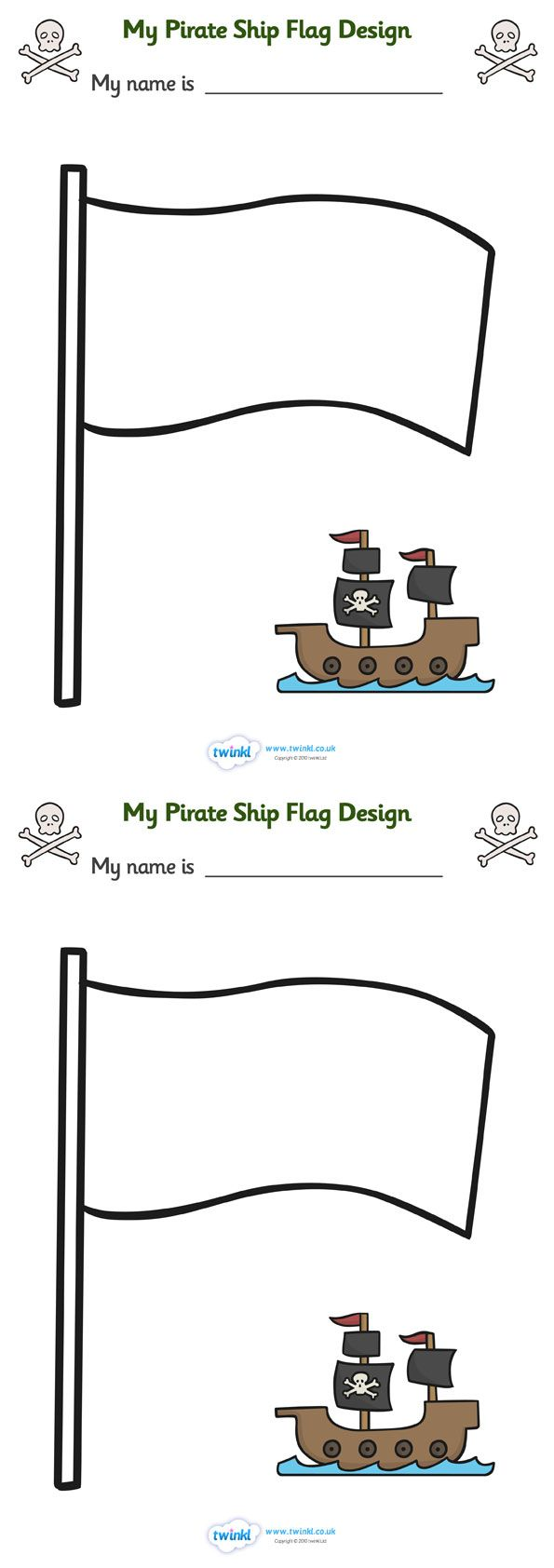 Twinkl Resources >> Design Your Own Ship Flag Worksheet  >> Thousands of printable primary teaching resources for EYFS, KS1, KS2 and beyond! worksheets, flag design worksheets, flags, design worksheets, flag template, pirate worksheet,