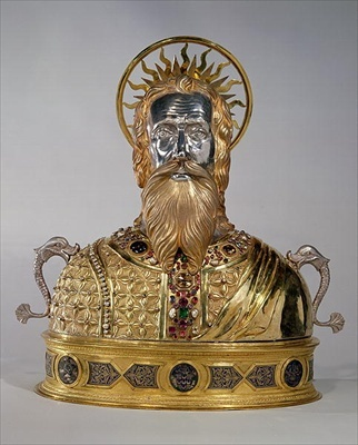"Reliquary of St. Andrew the Apostle, silver with gold plate, pearls, over 200 gems and 6 emeralds set on a bronze base. ""THE VATICAN"""