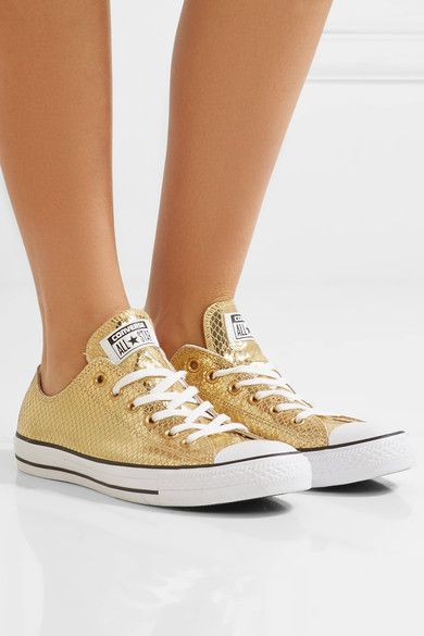 Rubber sole measures approximately 25mm/ 1 inch Gold snake-effect leather Lace-up front