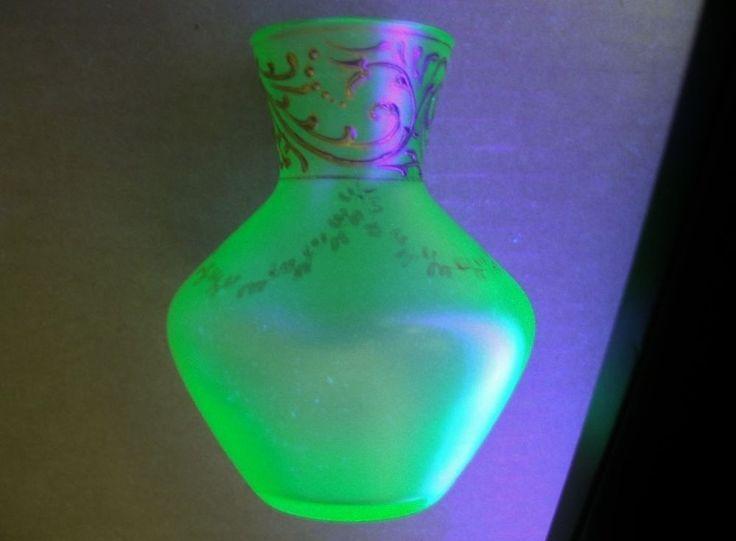 Museum Quality Antique Vaseline Glass Vase Hand Painted Gold Designs