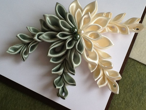 Ivory & Green Kanzashi Flower  Hair Barrette by LihiniCreations | Love the half and half color split