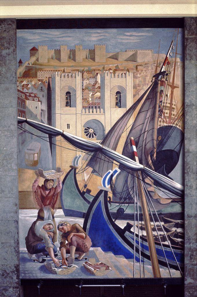 """Gare Marítima de Alcântara, Lisboa, Portugal.  Painel """"Quem não viu Lisboa não viu coisa boa"""". Autor do painel: Almada Negreiros, 1893-1970."""