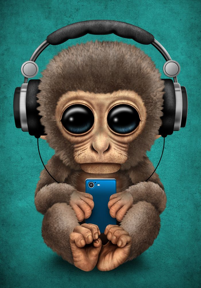 Cute Baby Monkey With Cell Phone Wearing Headphones Blue Art Print By Jeff Bartels X Small Cute Baby Monkey Baby Monkey Monkey Wallpaper