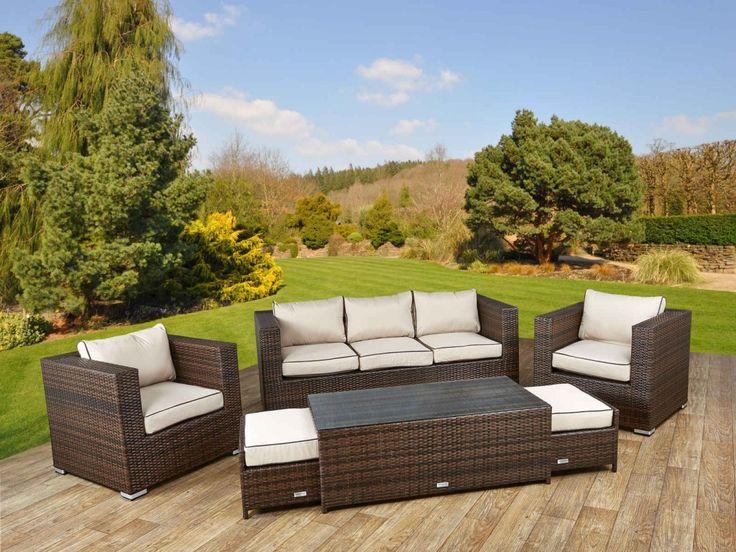 Ascot 3 Seater Rattan Garden Sofa Set in Chocolate and Cream