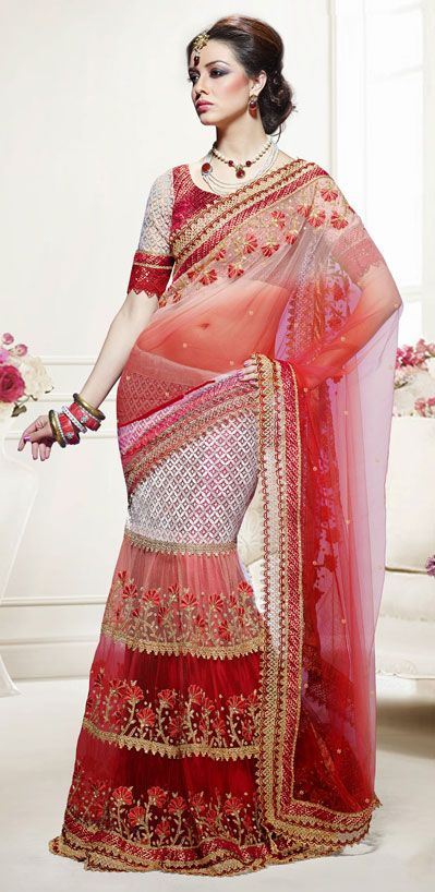 USD 82.73 Shaded Red Faux Georgette Wedding Lehenga Saree 42461